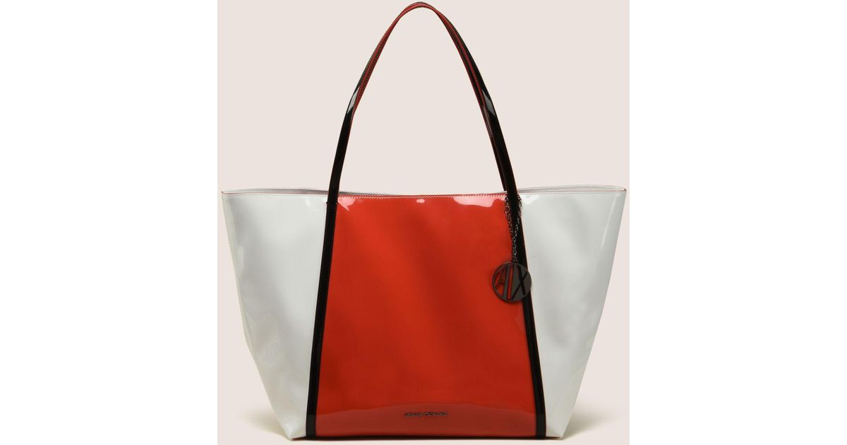 Lyst - Armani Exchange Large Patent Charm Tote in Red 1ef03f88462a8