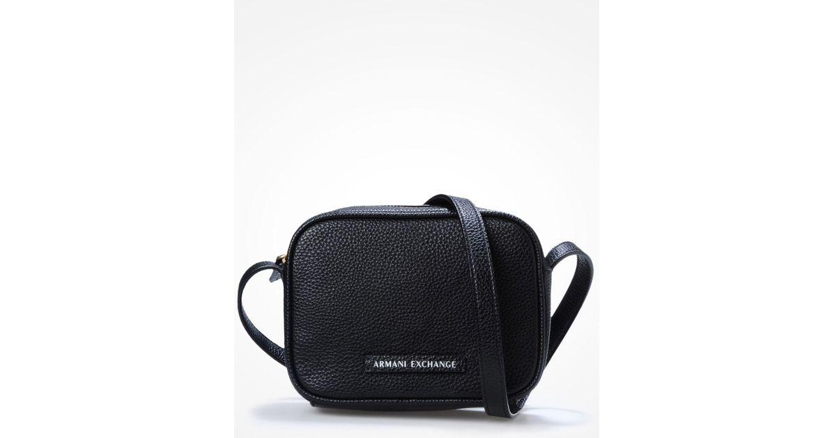3468f2052c7b Lyst armani exchange pebbled crossbody in black jpeg 1200x630 Armani  exchange satchel