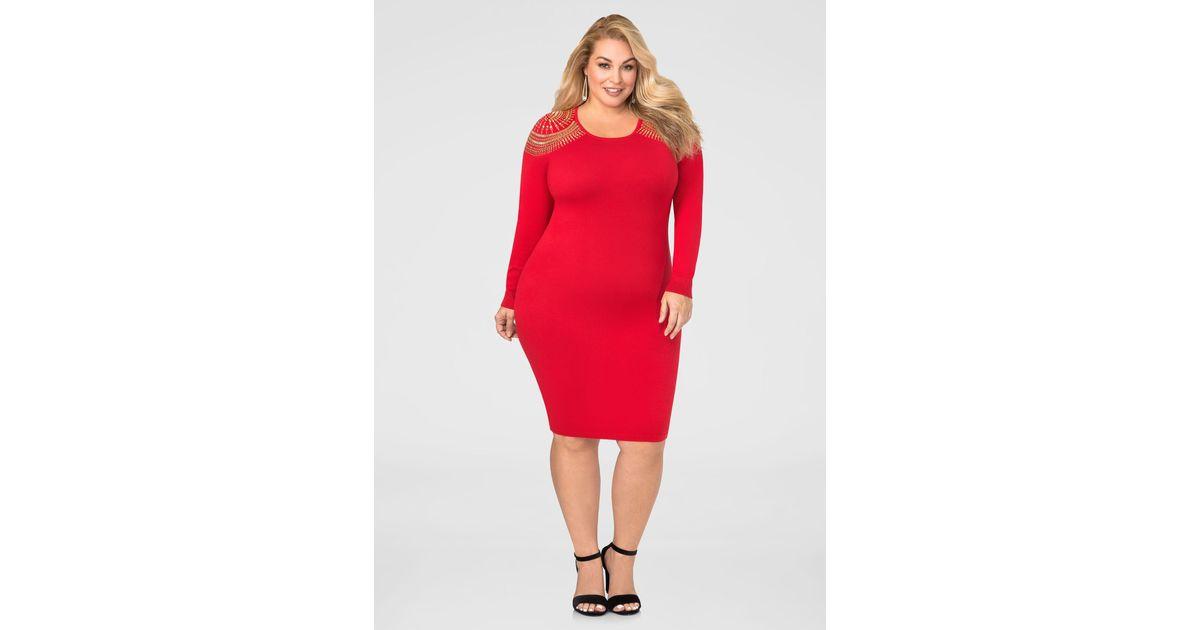 1ff16369925 Lyst - Ashley Stewart Stud Shoulder Bodycon Sweater Dress in Red