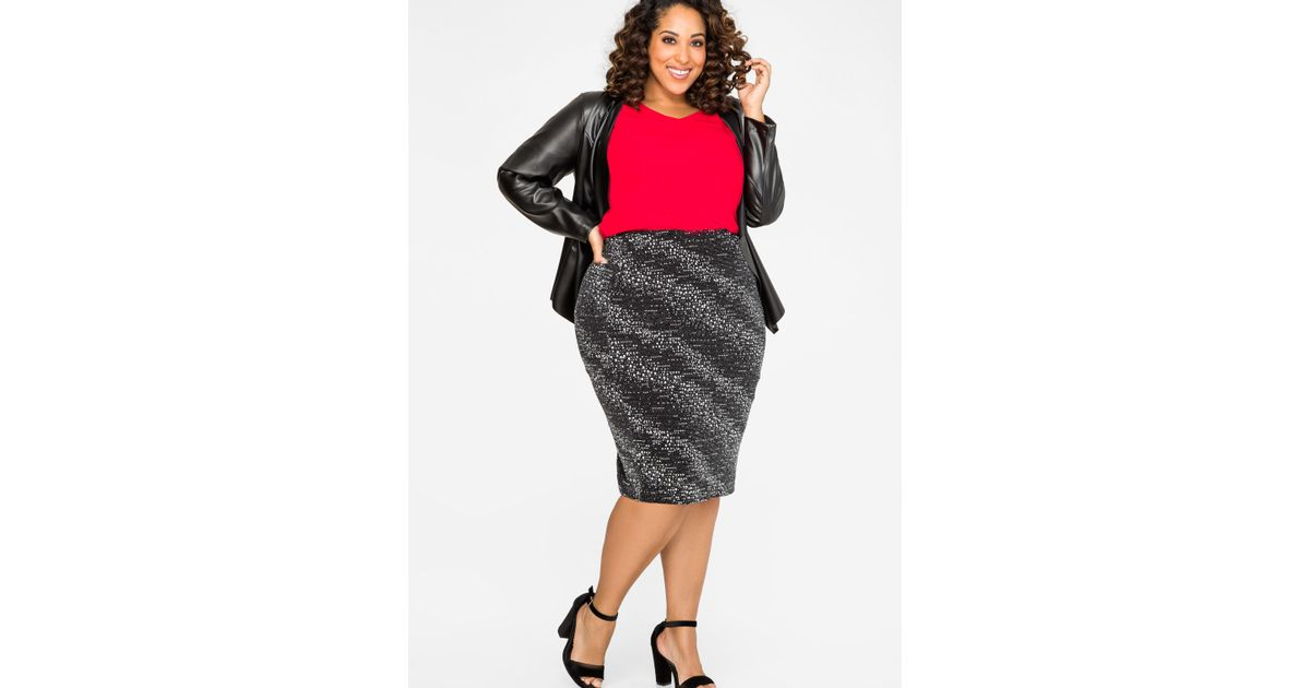 a6bb15439f1 Lyst - Ashley Stewart Metallic Knit Pencil Skirt in Metallic