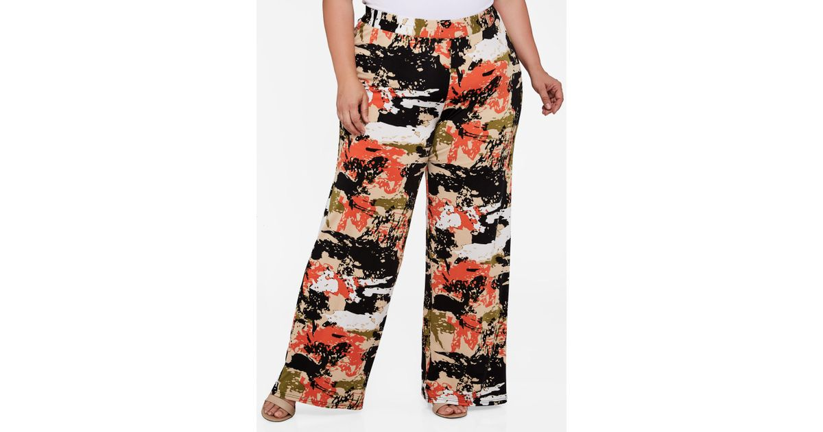 a17e9841376 Lyst - Ashley Stewart Plus Size Camo Print Palazzo Pant in Red