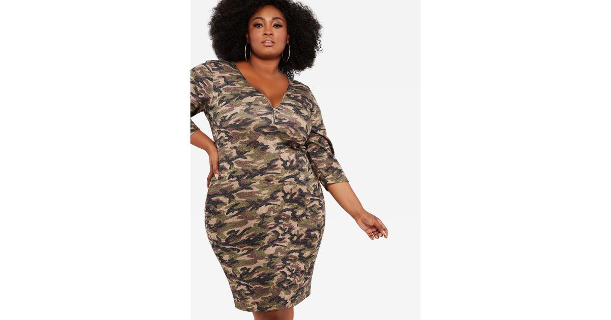 Ashley Stewart Plus Size Zip Front Glitter Camo Dress in Green - Lyst