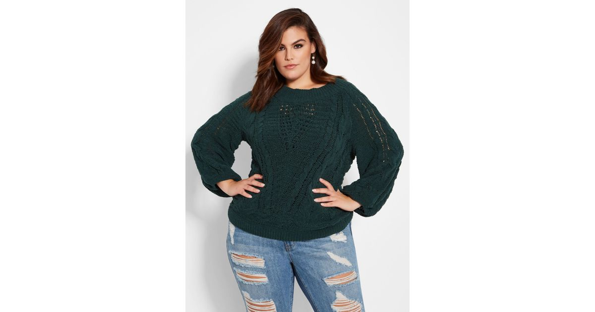 653fca51380 Lyst - Ashley Stewart Plus Size Chenille Cable Knit Sweater in Green