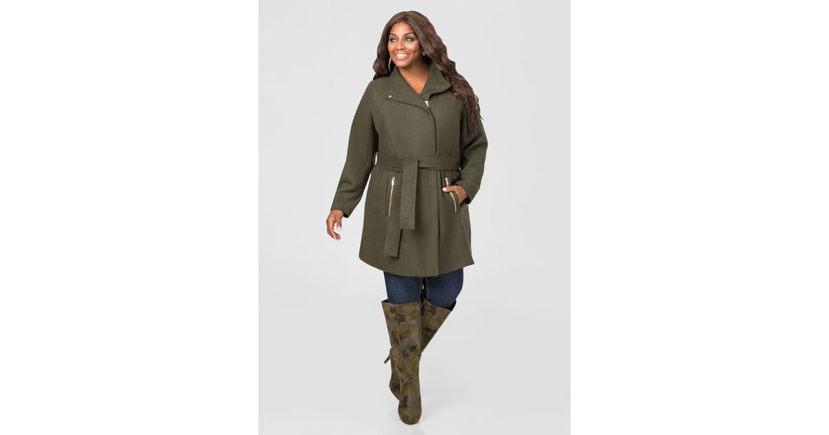 b9dd54ca1c7 Lyst - Ashley Stewart Belted Wool Blend Winter Coat in Green