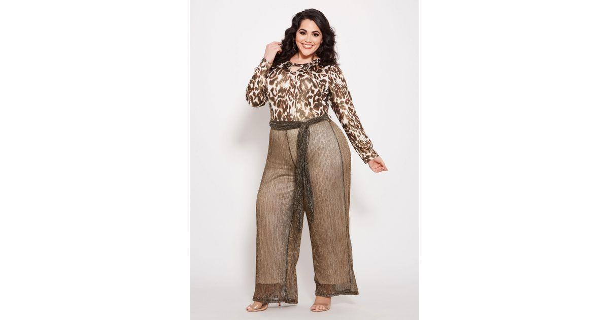03652b5ae9b11 Lyst - Ashley Stewart Plus Size Metallic Animal Print Jumpsuit