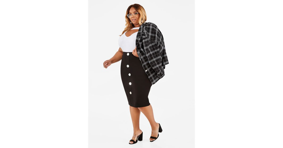 dbe3bf12011 Lyst - Ashley Stewart Plus Size Oversized Button Pencil Skirt in Black