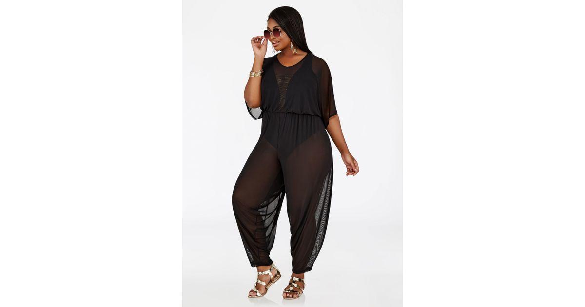 741c51cf210d5 Ashley Stewart Sheer Mesh Jumpsuit Cover Up in Black - Lyst