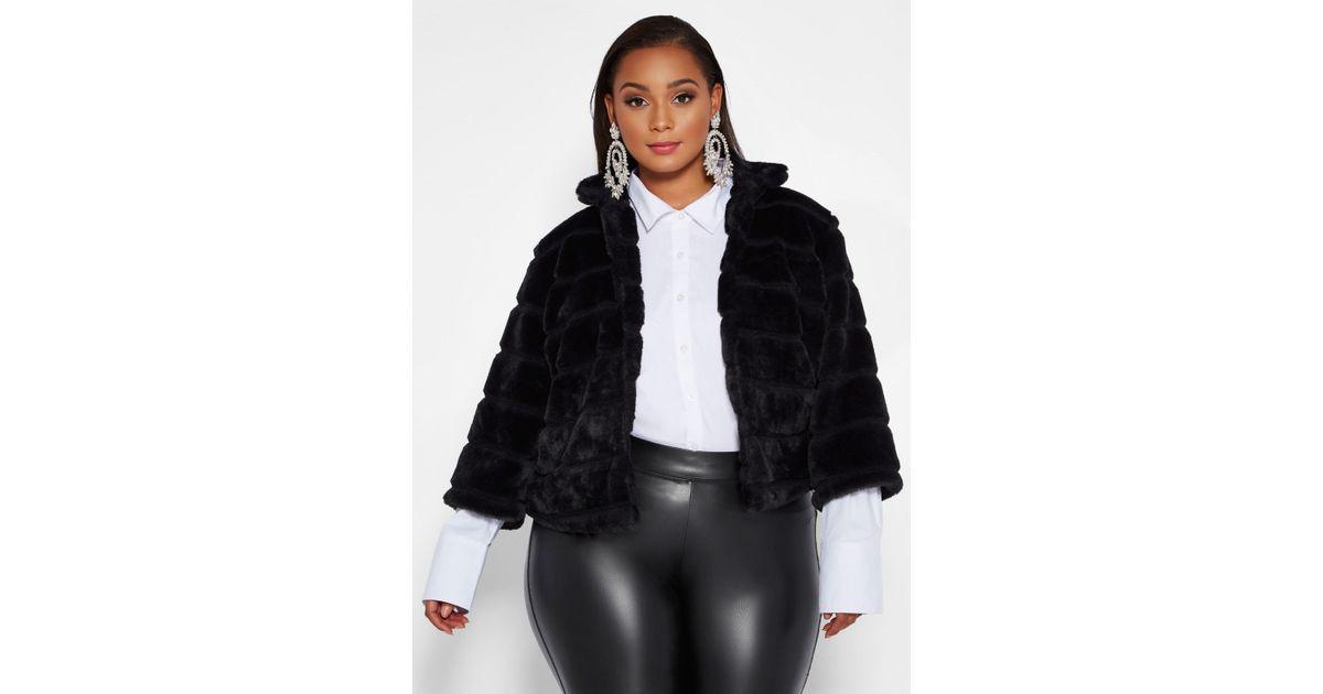 187a022023 Lyst - Ashley Stewart Plus Size Faux Fur Bolero Jacket in Black