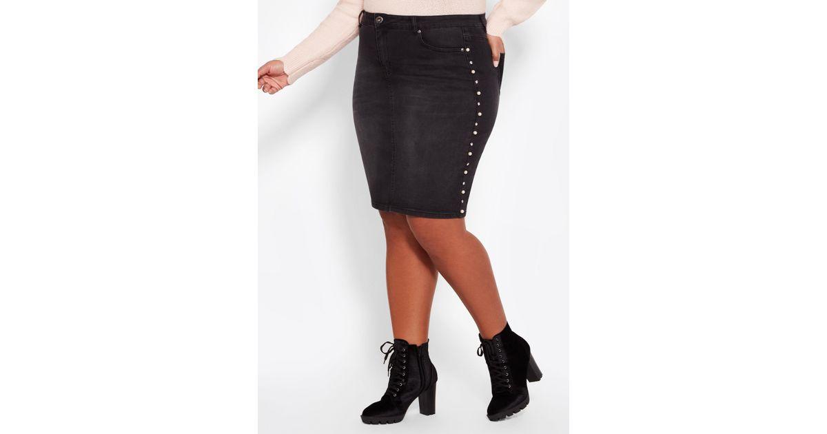 f4dd6bc673dd8 Lyst - Ashley Stewart Plus Size Pearl   Rhinestone Trim Denim Skirt in Black