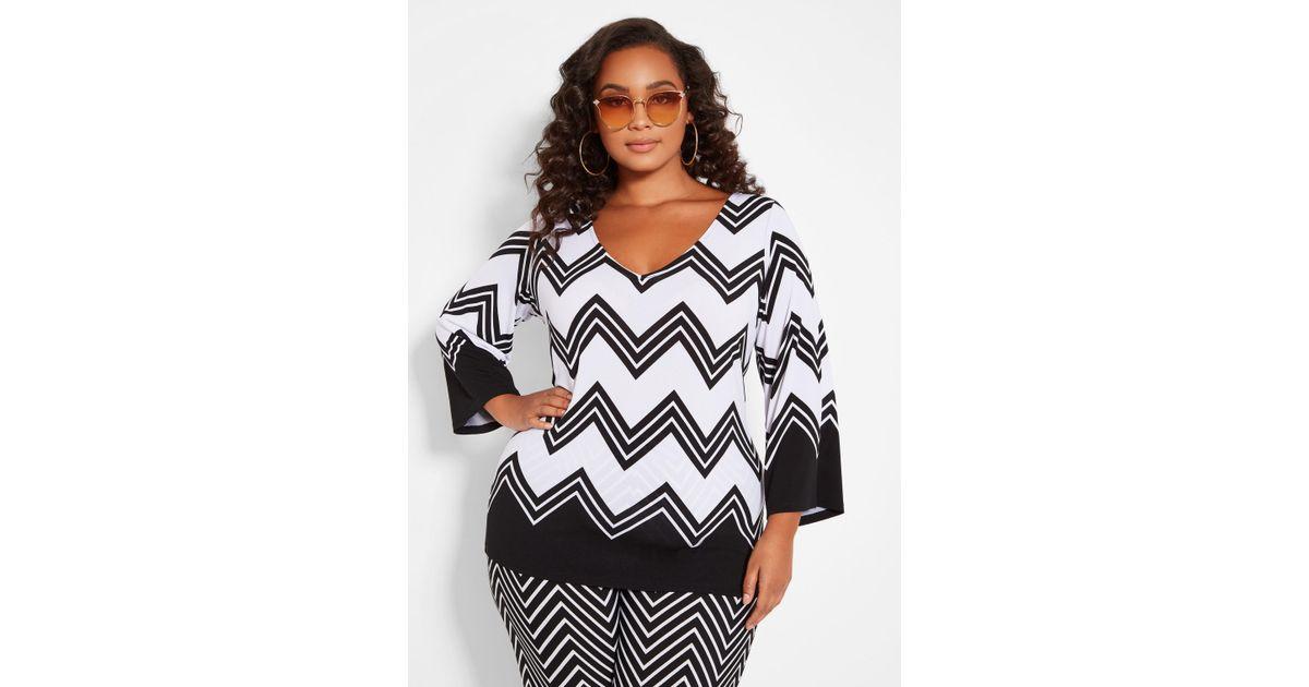 1a2842ca06c Lyst - Ashley Stewart Plus Size Elbow Sleeve Chevron Top in Black