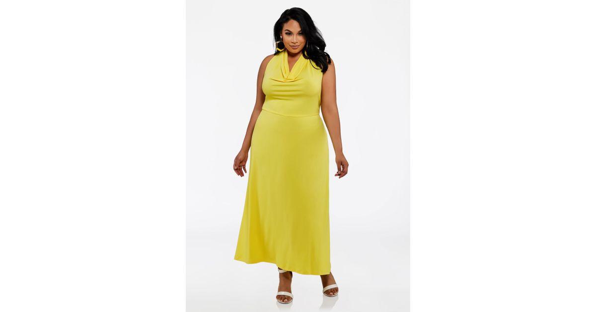 37e2dda91ef Ashley Stewart Plus Size Cowl Neck Halter Maxi Dress in Yellow - Lyst