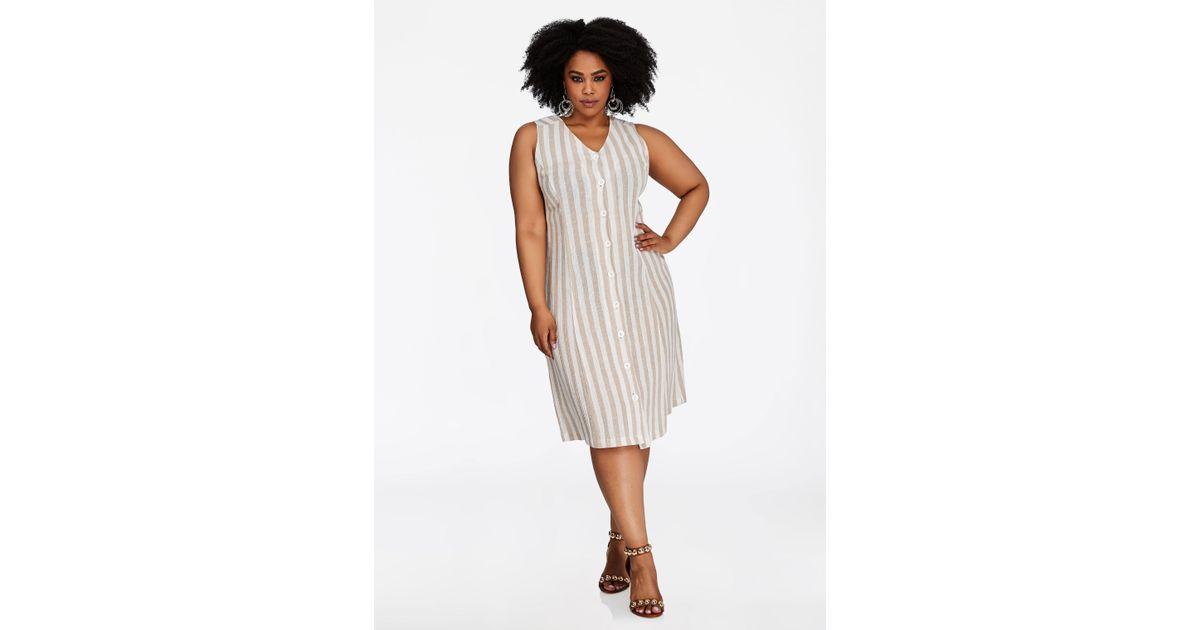 Ashley Stewart - Multicolor Plus Size Striped Linen Button Front Dress -  Lyst
