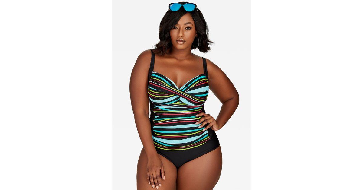 228cdde3d856f Ashley Stewart Striped Tankini Swimsuit in Black - Lyst