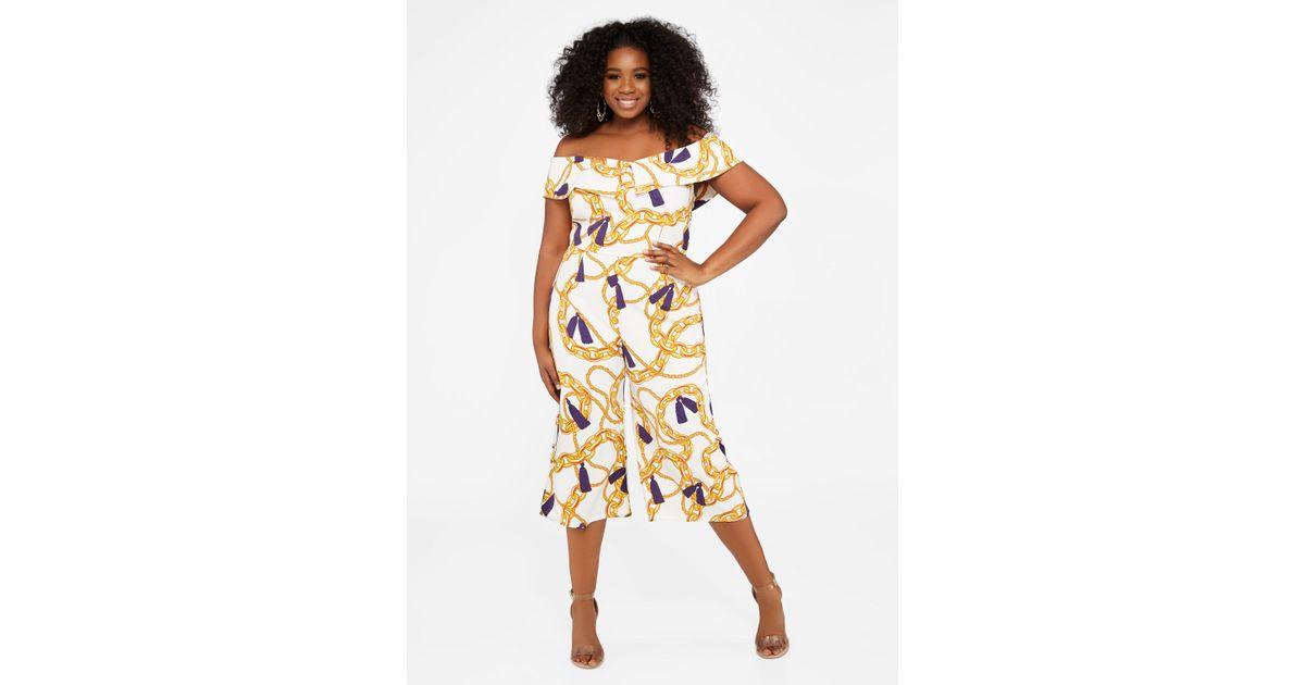 89312867e508b Lyst - Ashley Stewart Plus Size Tall Off Shoulder Print Jumpsuit