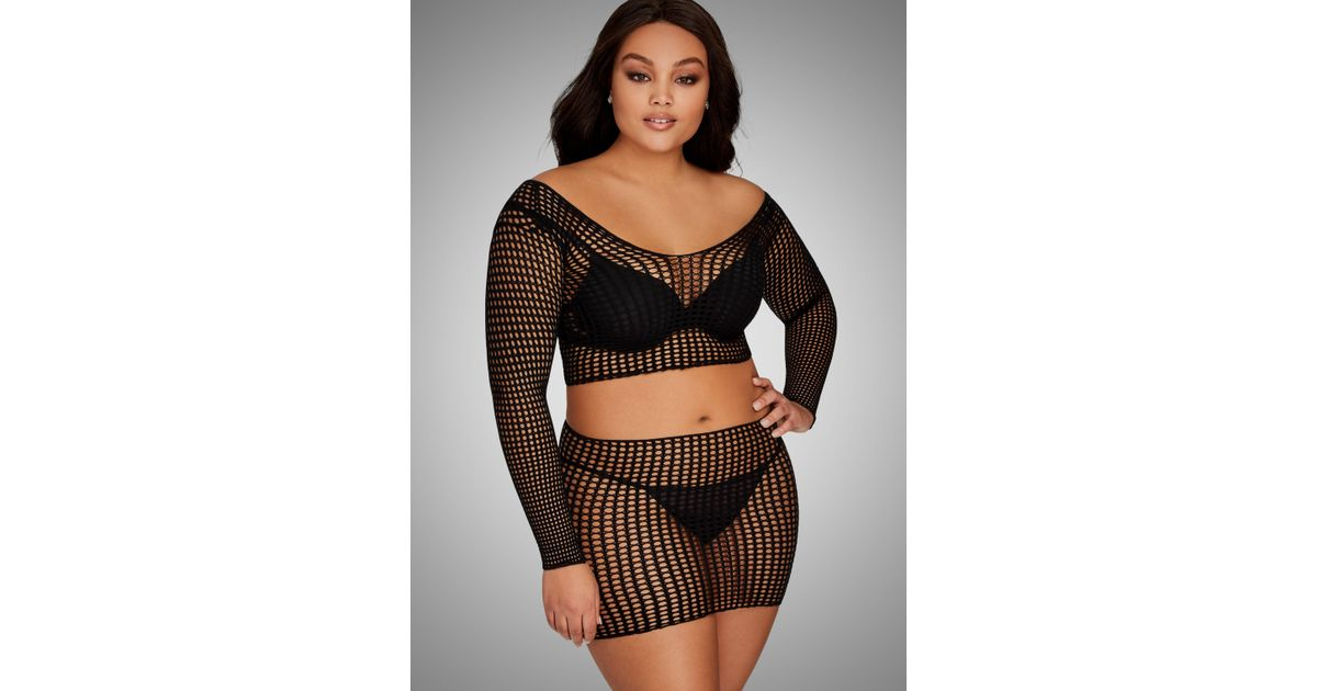 674e0ea2b80 Lyst - Ashley Stewart Plus Size Fishnet Crop Top Mini Skirt Set in Black