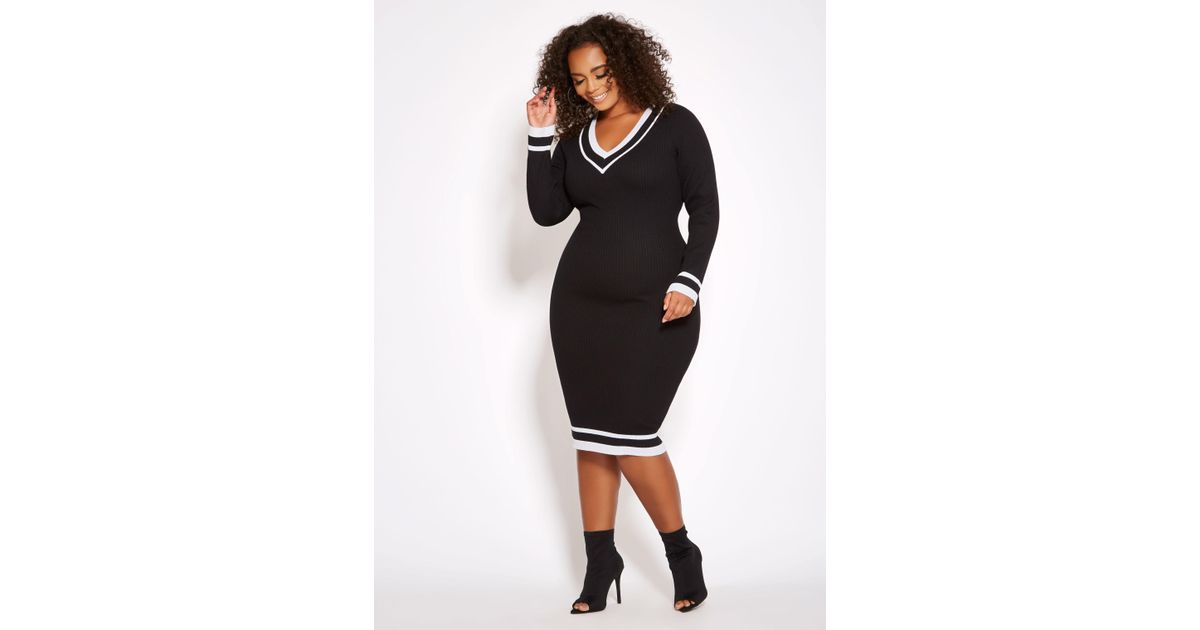 Ashley Stewart Plus Size V Neck Varsity Sweater Dress in Black - Lyst
