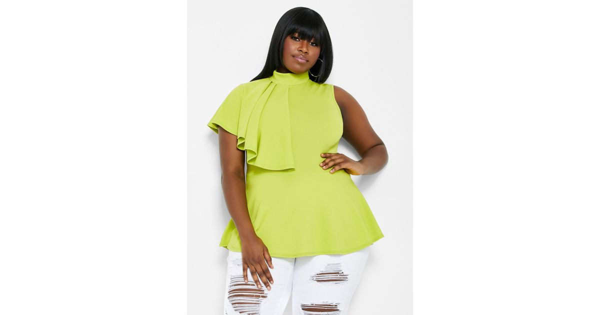 7ae34c2d8890c3 Lyst - Ashley Stewart Plus Size Ruffle Shoulder Peplum Top in Green