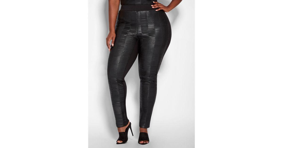 840c09c1bd866 Lyst - Ashley Stewart Plus Size Pleated Faux Leather Legging in Black