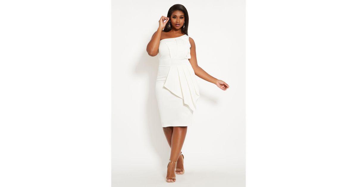 7eca7c22c37 Lyst - Ashley Stewart Plus Size Fan Detail One Shoulder Dress in White