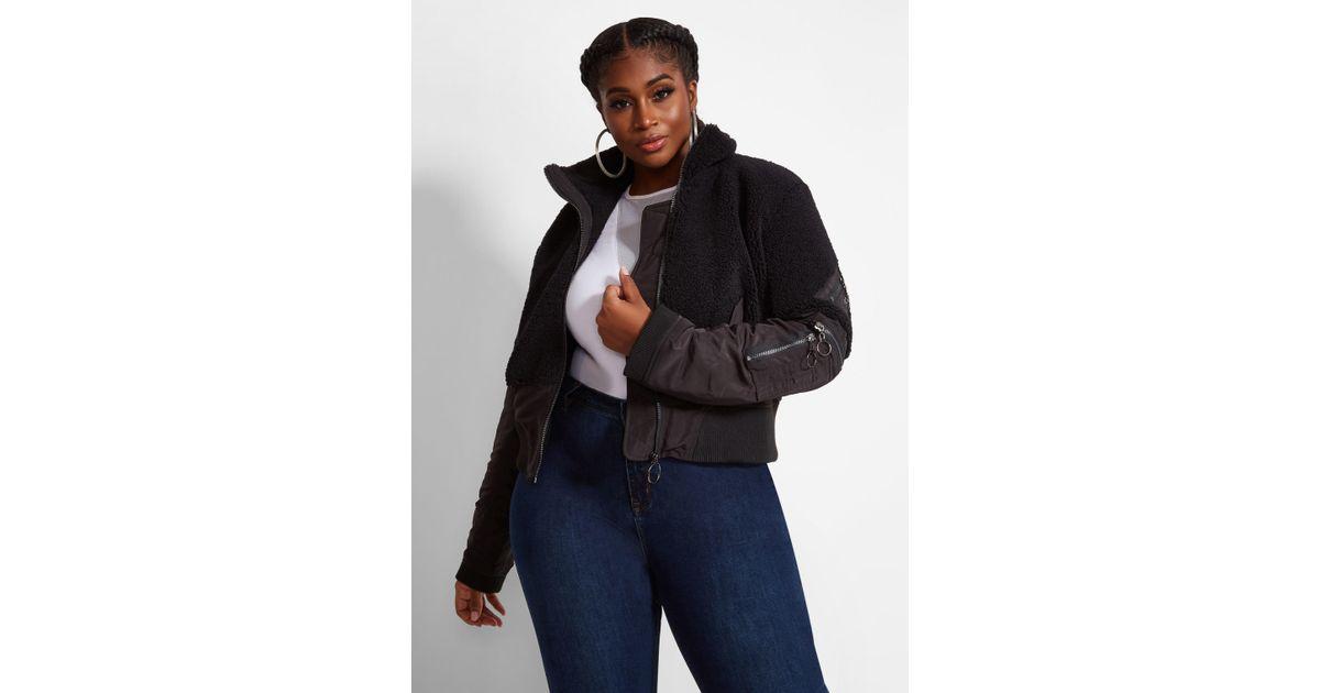 5afda790b27 Lyst - Ashley Stewart Plus Size La La Anthony Cropped Sherpa Bomber Jacket  in Black