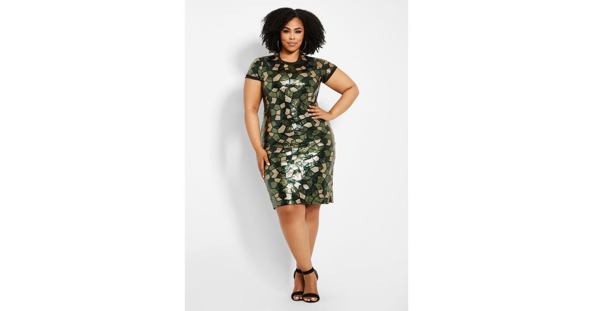 Ashley Stewart - Green Plus Size Camo Pattern Sequin Sheath Dress - Lyst