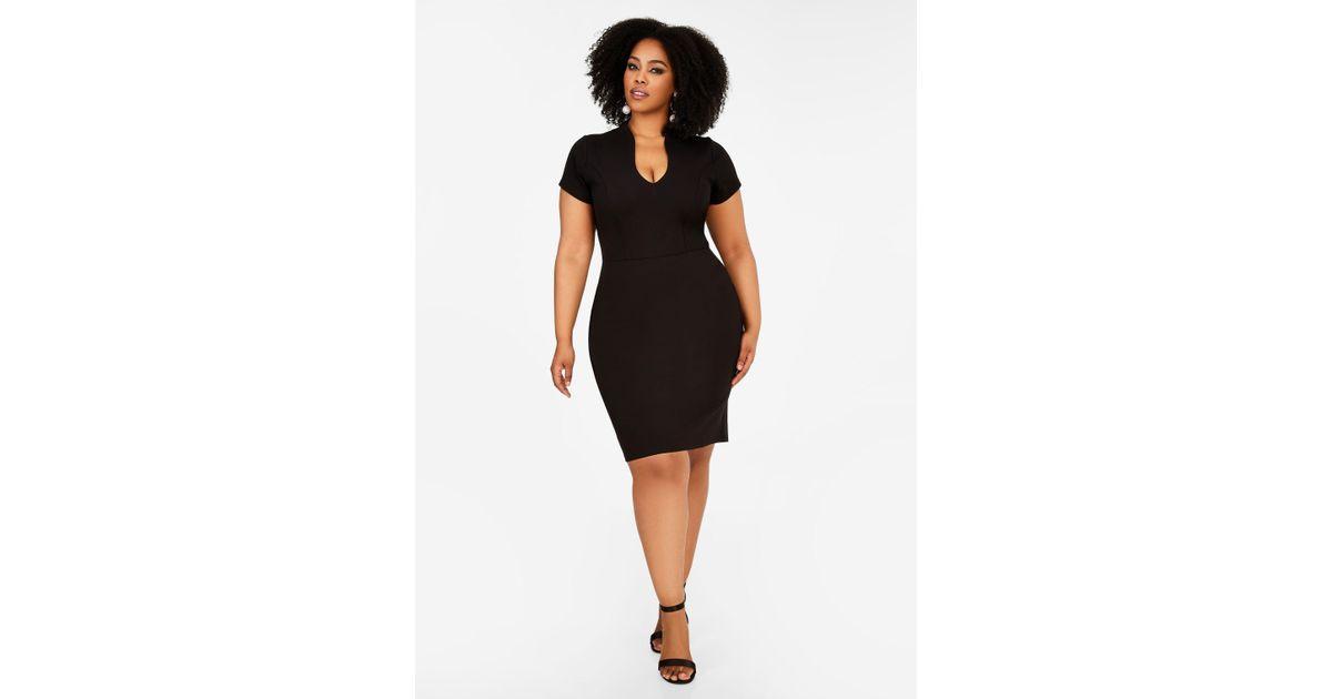 Lyst Ashley Stewart U Neck Cap Sleeve Dress In Black