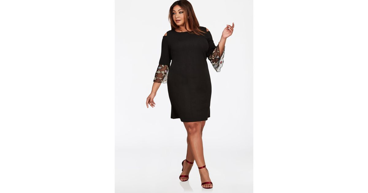 522021851 Ashley Stewart Embroidered Mesh Bell Sleeve Dress in Black - Lyst