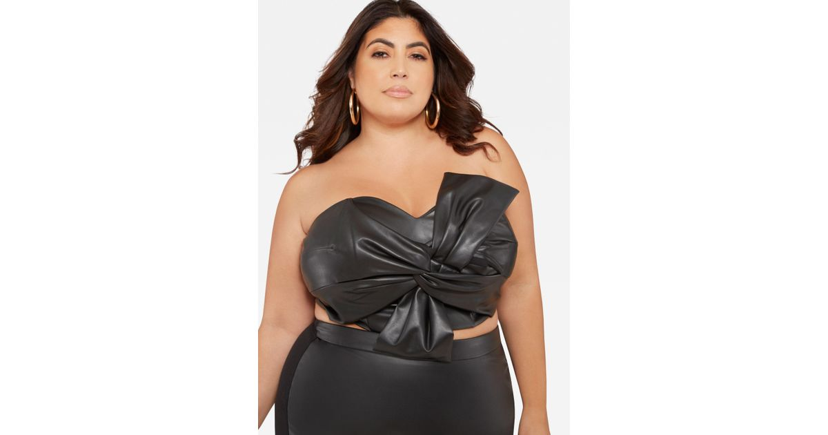 97c9d475d3 Lyst - Ashley Stewart Plus Size Faux Leather Knot Front Tube Top in Black