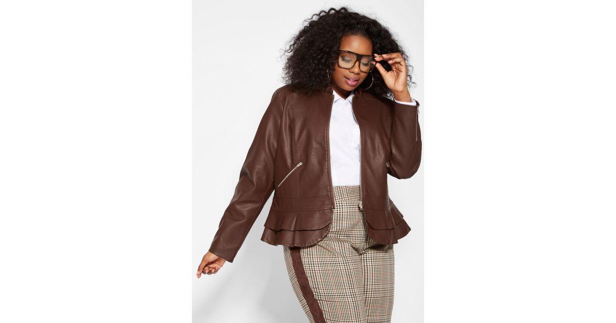 0b91c08972c14 Lyst - Ashley Stewart Plus Size Double Peplum Faux Leather Jacket in Brown