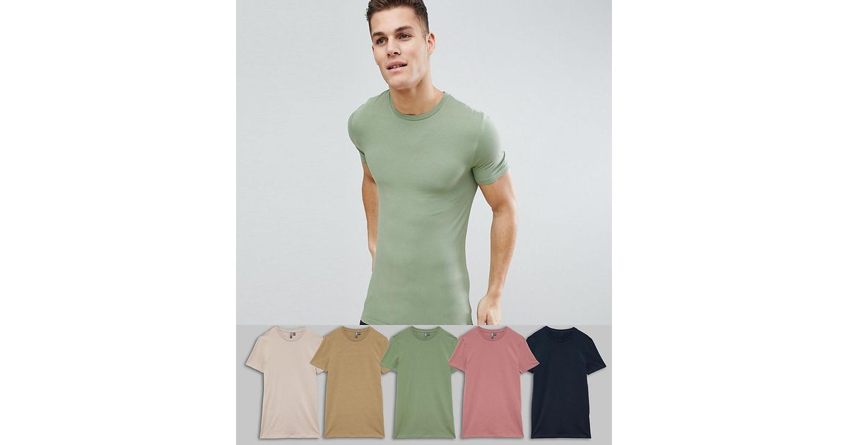 7efef5b6 Lyst - ASOS Longline Muscle Fit Crew Neck T-shirt With Stretch 5 Pack  Multipack Saving in Green for Men
