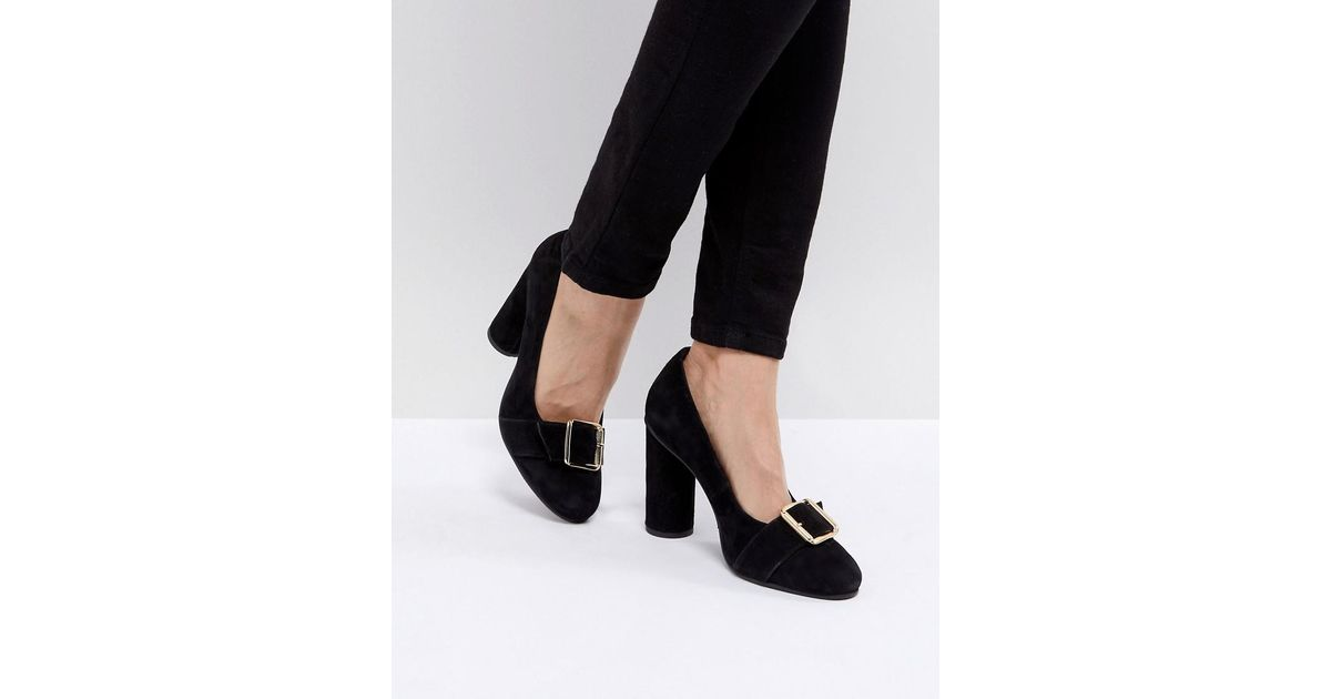 e825c8be SELECTED Femme Suede Round Toe Court Shoe With Buckle in Black - Lyst