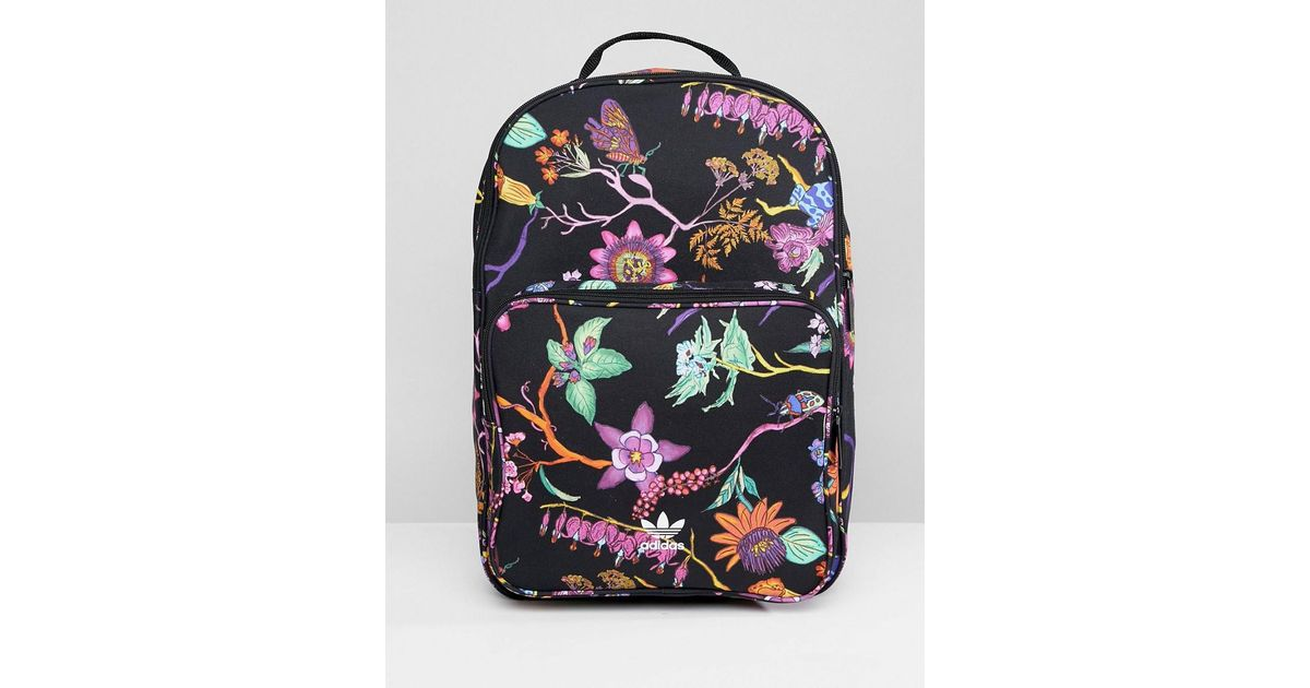 9acf7a9c38fd Lyst - adidas Originals Floral Print Backpack in Black