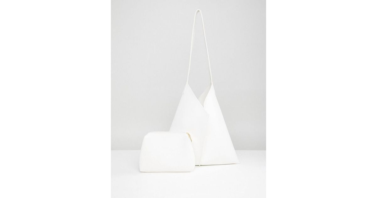 Lyst - Park Lane Minimal Slouch Shoulder Bag in White a464b9399f618