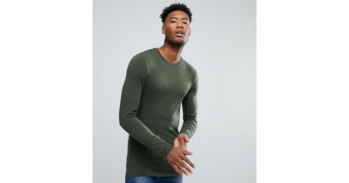 1be0c8798 Lyst - ASOS Tall Long Sleeve Muscle Fit T-shirt With Crew Neck In Green in  Green for Men