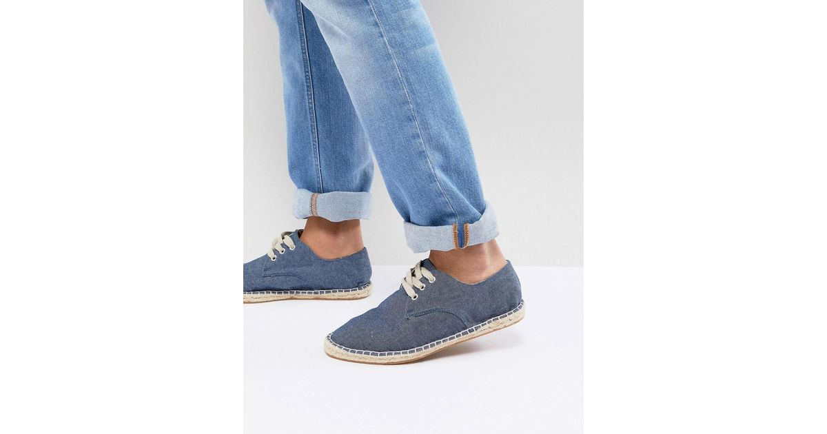 in Asos Up Blue Espadrilles Men for Denim Chambray Blue In Asos Lace 8rwOq86