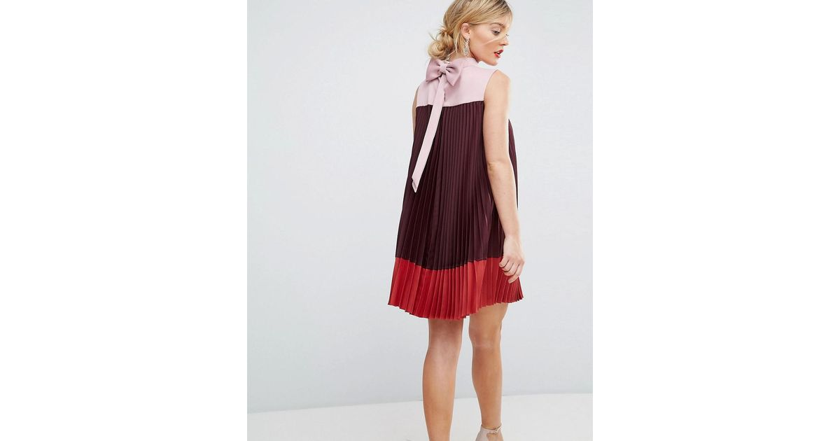d24db715f88307 Lyst - Ted Baker Colourblock Pleated Swing Dress With Bow Back in Red