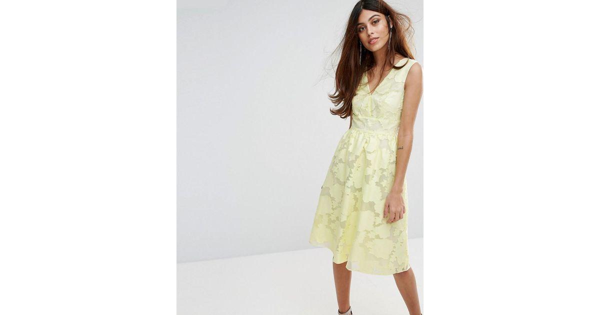 Lyst - Warehouse Premium Organza Prom Dress in Yellow