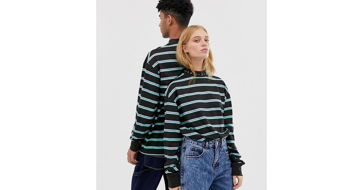 5b5607e43b52 Collusion Unisex Long Sleeve Stripe T-shirt In Black in Green - Lyst