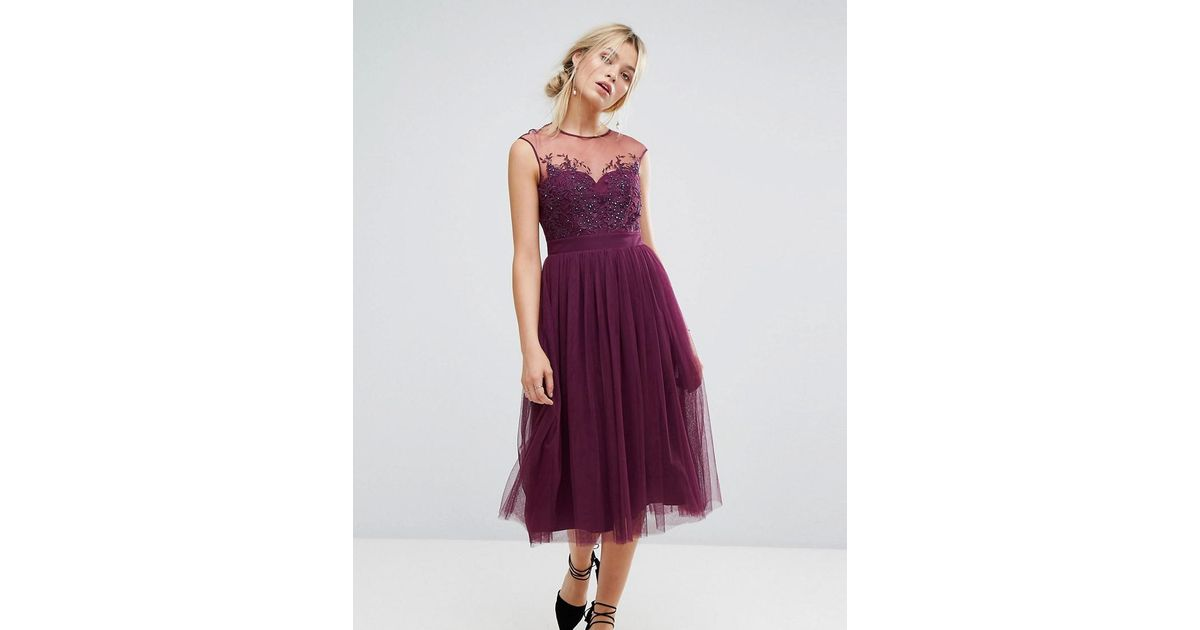 Little mistress allover lace applique top midi dress in purple lyst