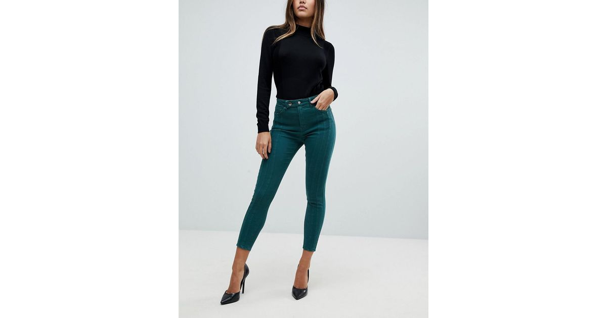 016b544ed73a ASOS Asos Ridley High Waist Skinny Jeans With Front Seam Detail And Extended  Button Tab In Dark Forest Green in Green - Lyst