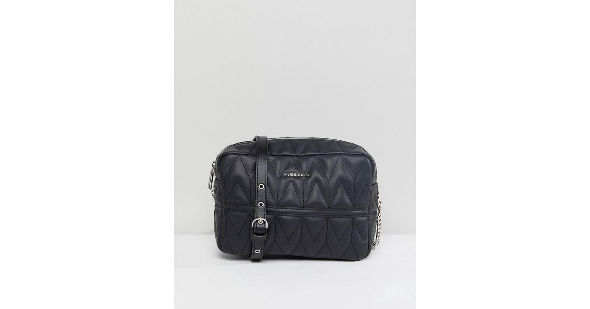 Lola Chevron Quilted X Body Bag - Black Fiorelli
