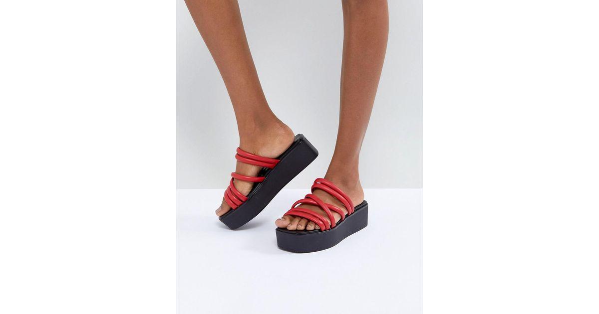 9bcb3ad9059 Vagabond Bonnie Red Strappy Leather Flatform Sandals in Red - Lyst