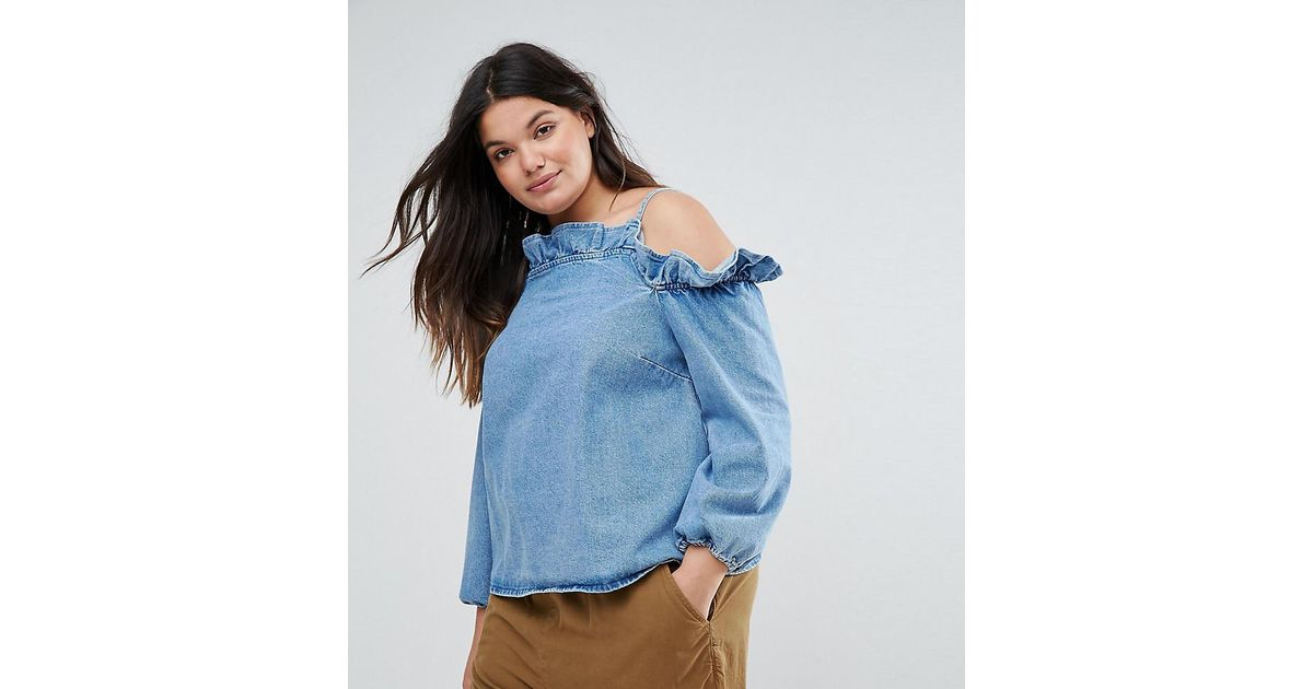 15a883967c4f7 Lyst - ASOS Denim Cold Shoulder Top With Ruffle In Mid Wash Blue in Blue