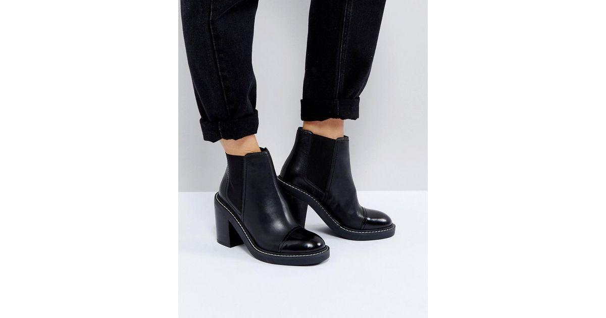 8eff4f347958 ASOS Asos Entail Premium Leather Heeled Chelsea Boots in Black - Lyst
