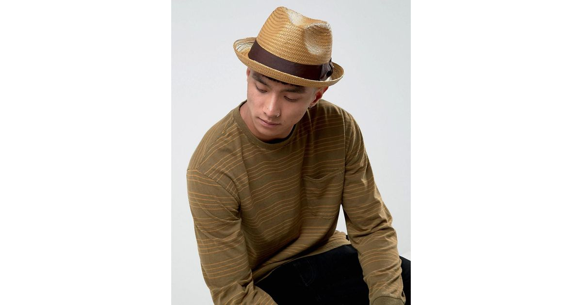 acde9b46e298f Brixton Castor Fedora Straw Hat in Brown for Men - Lyst