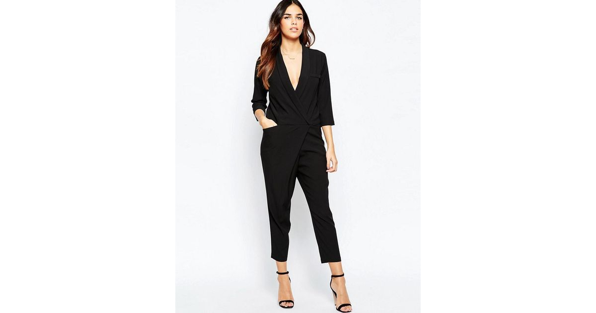 a454728d090a ASOS Jumpsuit With Wrap Front And Long Sleeves in Black - Lyst