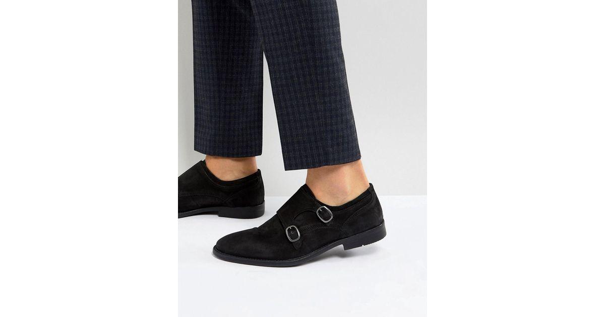 Chaussures Moine Asos En Daim Noir Avec Semelle En Détresse - Noir YAi6T
