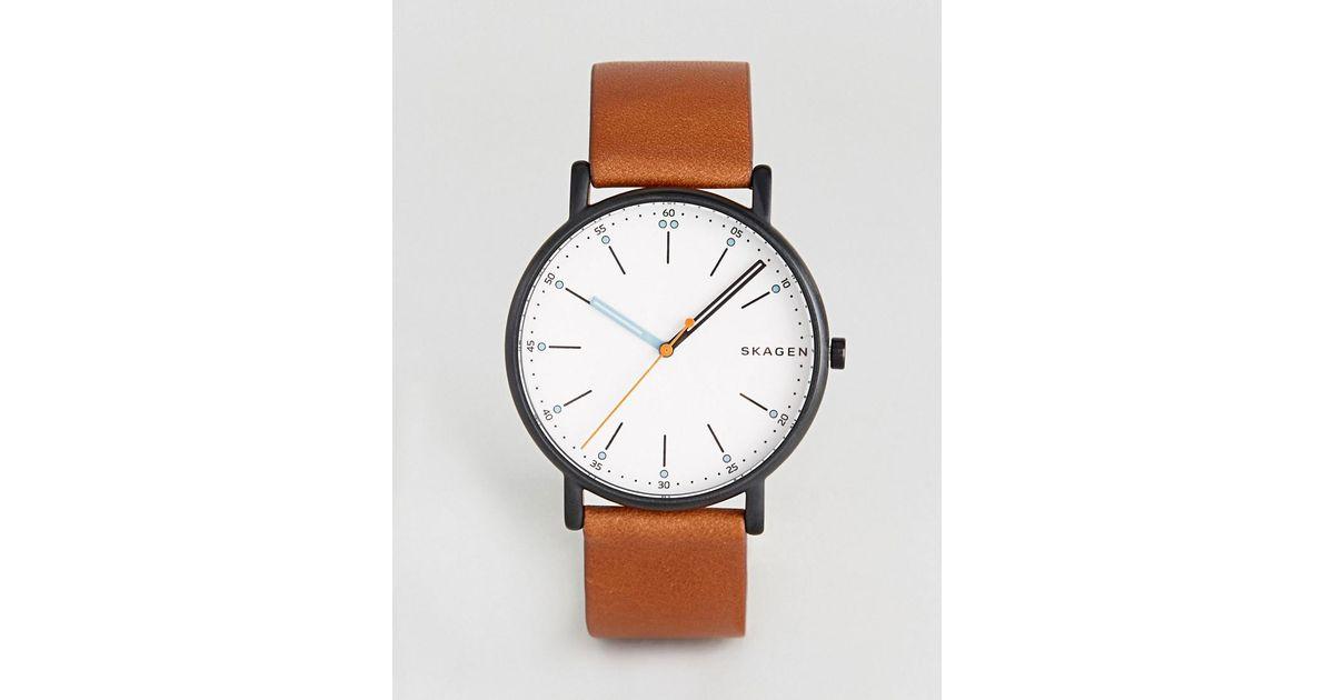 85bfa17e7efad Lyst - Skagen Skw6374 Signatur Leathere Watch In Brown in Brown
