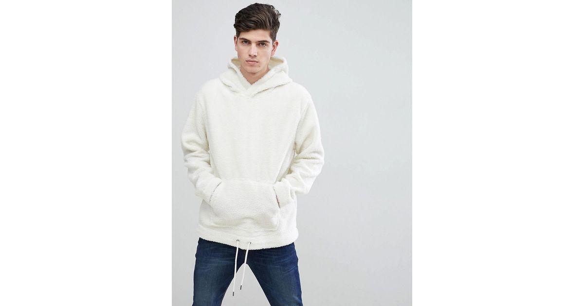 eca493ba4 Mango Man Faux Shearling Hoodie In Off White in White for Men - Lyst