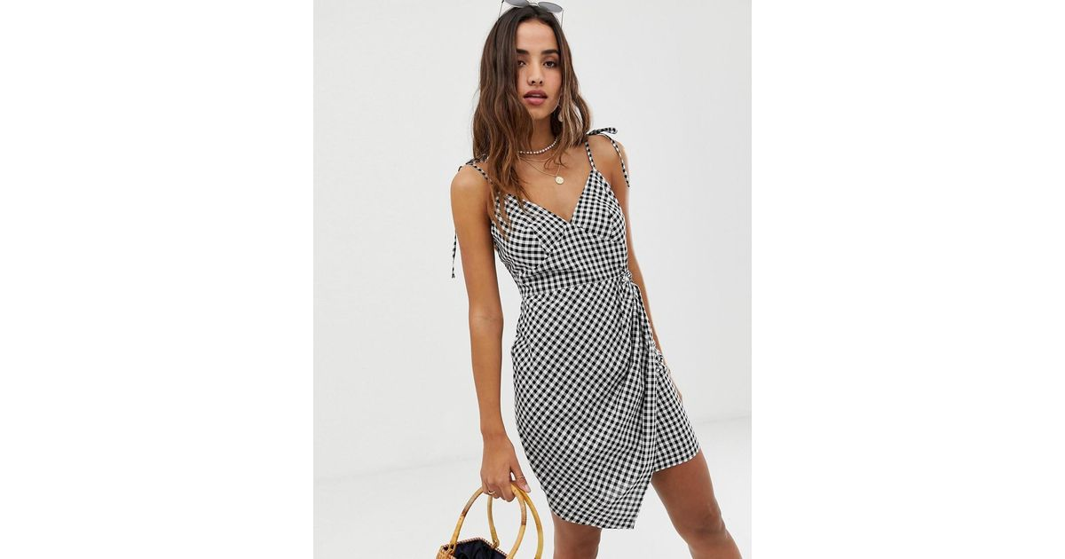 1d05565a436 Lyst - ASOS Knot Front Mini Sundress In Seersucker In Gingham